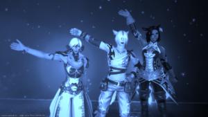 three character avatars waving