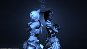 Two video game avatars posing