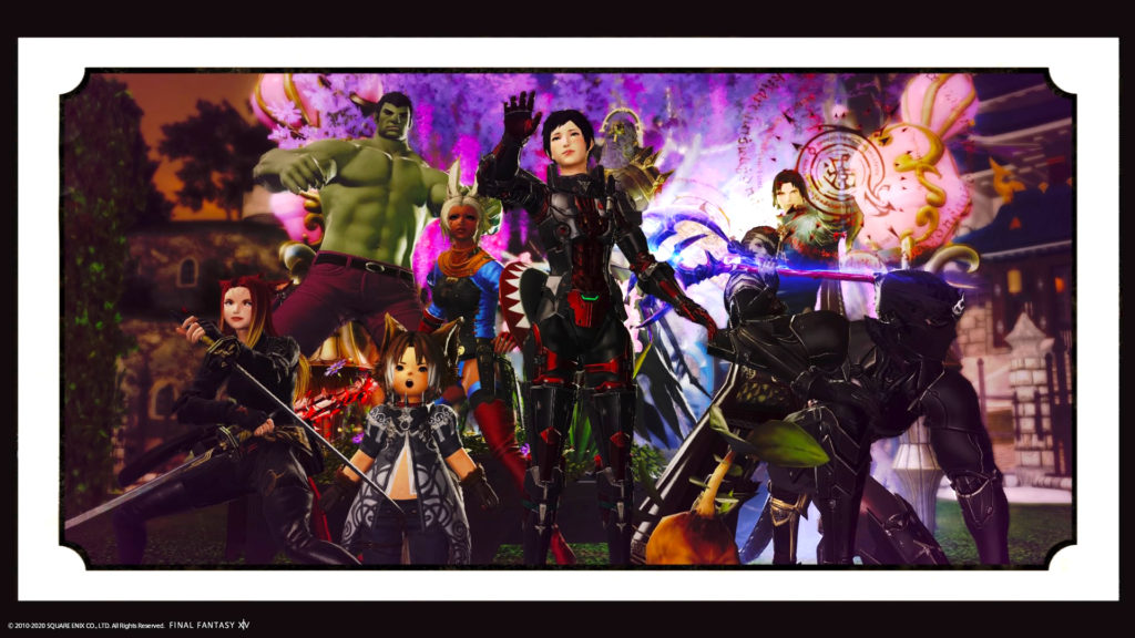 FFXIV screen shot featuring characters dressed up as MCU comic heroes