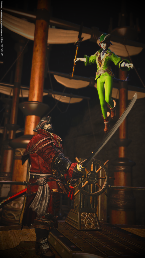 XIV Screen shot [ID: An image of Peter Pan flying over a sword held by Captain Hook on a pirate ship, as depicted by characters in Final Fantasy XIV]